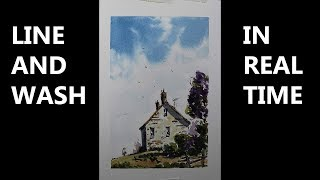 Line and wash watercolor Minimum mix color, easy for beginners with Nil Rocha