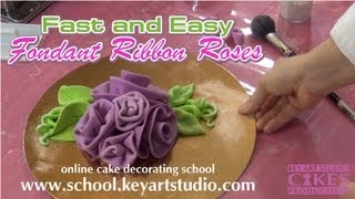 How To Make Fondand And Gum Paste Ribbon Roses.Tutorial From Key Art Stusio Cakes.