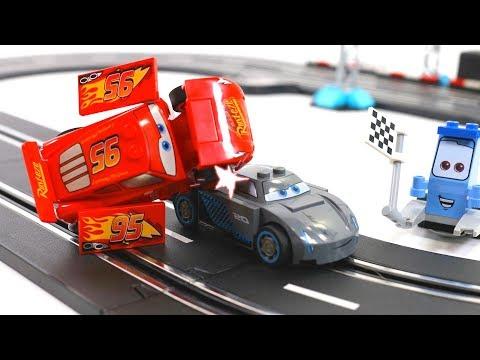 Disney cars3 toys Lightning McQueen vs. Jackson Storm Race battle - lego Stop motion movie for kids - YouTube