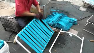 How PVC strap sunbed is made, how to change, replace and repair PVC strap on sun lounger