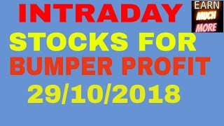 JACKPOT STOCKS FOR 29/10/2018 - FOR INTRADAY PROFIT