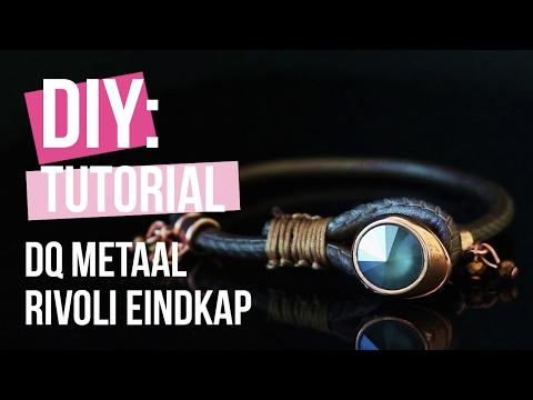 Sieraden maken: Stoer armbandje met rivoli eindkap van DQ metaal ♡ DIY