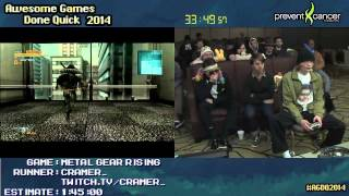 Metal Gear Rising: Revengeance SPEED RUN (1:23:03) (Hard) Live at #AGDQ 2014