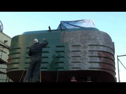 Marine coatings! Painting the back of a tugboat Vancouver BC