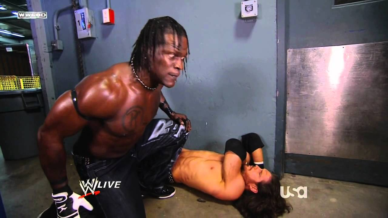 Monday Night RAW 06 13 2011   R Truth attacks John Morrison backstage