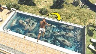 ماذا سيحدث اذا قفزت فوق مئة سمكة قرش في قراند 5؟ GTA V SHARK