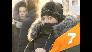 Показываем как Красноярск переживает день сурового мороза
