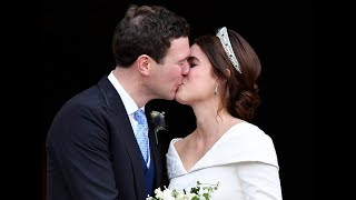 Princess Eugenie, husband Jack Brooksbank exit chapel after royal wedding