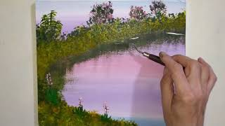 Dawn at the lake/Learn to draw yourself/Simple Landscape Painting. Morgendämmerung am See