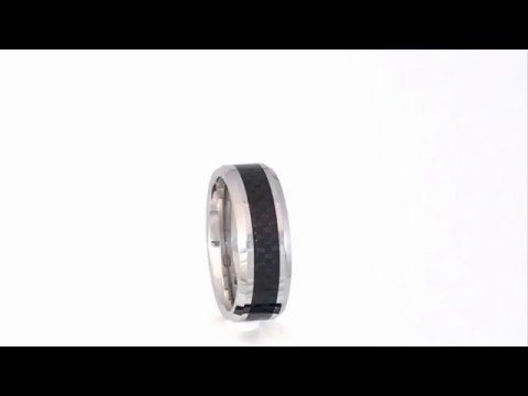 Black Carbon Fibre Cobalt Ring