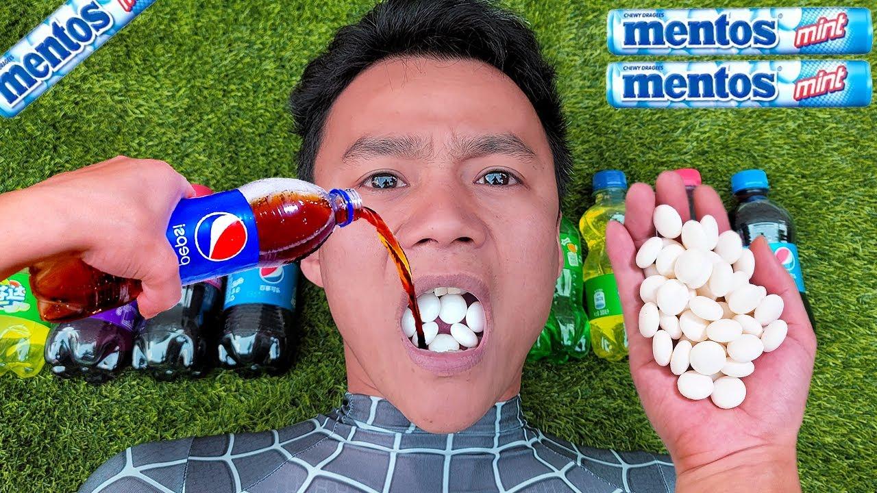 Coca Cola, Different Fanta, Mtn Dew, Pepsi,Sprite and Spiderman mouth vs Mentos in Big Underground