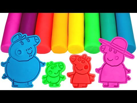 Peppa Pig Family & Friends Play Doh Molds Learn Colors Painting Peppa Surprise Toys Compilation
