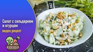 Салат с сельдереем и огурцом — видео рецепт