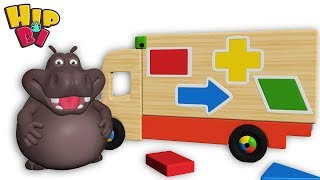 Funny Hippo Baby Play Wooden Shape Car Toys For KidsHip Bi