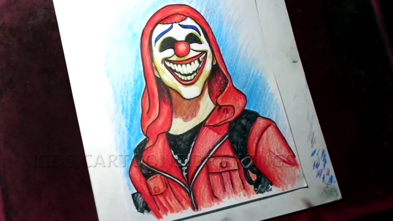How To Draw Free Fire Joker Color Drawing Youtube