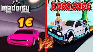 1€ AUTO VS. 5.000.000€ AUTO! - MAD CITY ROBLOX