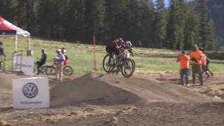 Dual Slalom Mens Final Round at the 2016 Volkswagen Mt Bike Nationals(Run 1 and Run 2 of Women's dual slalom gold medal race between Adrian Sanders and Jill Kintner., 2016-07-21T23:00:30.000Z)