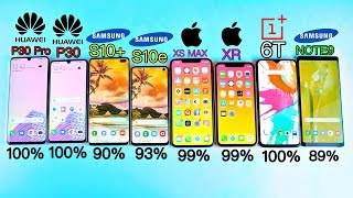 Huawei P30 Pro vs S10 Plus vs iPhone XS MAX vs S10e vs XR vs OnePlus 6T vs Note 9 Battery Drain Test