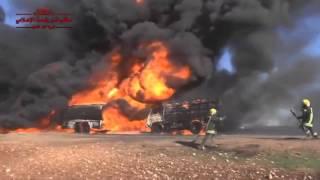 #Сирия  04 12 15  Горящие бензовозы #ИГИЛ после налета авиации ВКС Россиии
