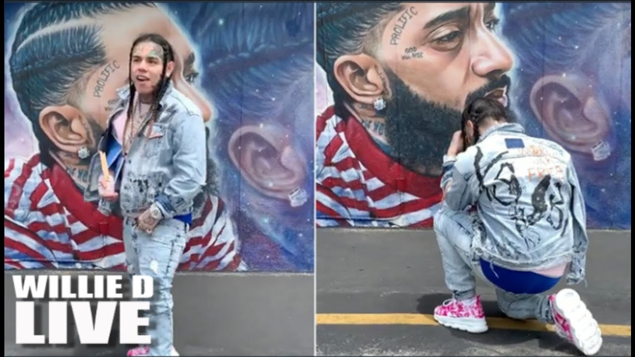 Paying Respect Or Disrespectful? 6ix9ine Visits Nipsey Hussle's Mural In L.A!