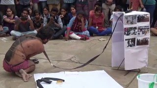 """""""Lathi Charge"""" - Art Performance by HCU Student Anupam Saikia - Justice For Rohith"""