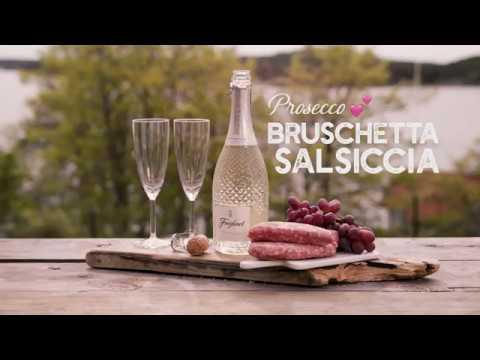 Prosecco matchat med bruschetta con salsiccia