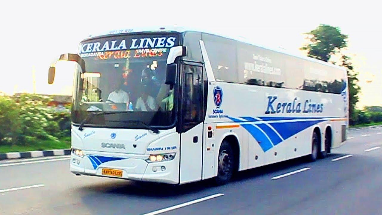 28 High Speed Volvo Buses in Bangalore - Kallada Kerala Lines KPN Orange  Evacay Atlas KSRTC