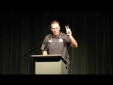 Broncos Oline coach Barone speaks at alma mater