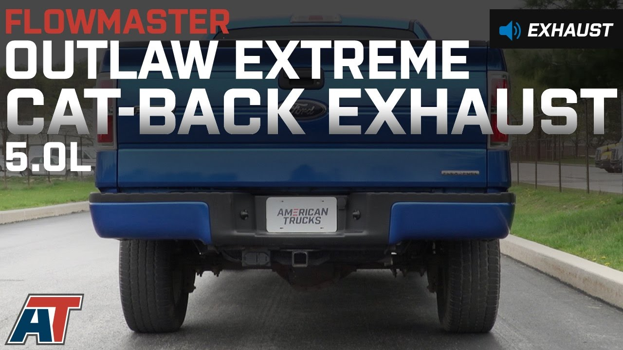 flowmaster outlaw extreme single exhaust system with black tip turn down 11 14 5 0l f 150