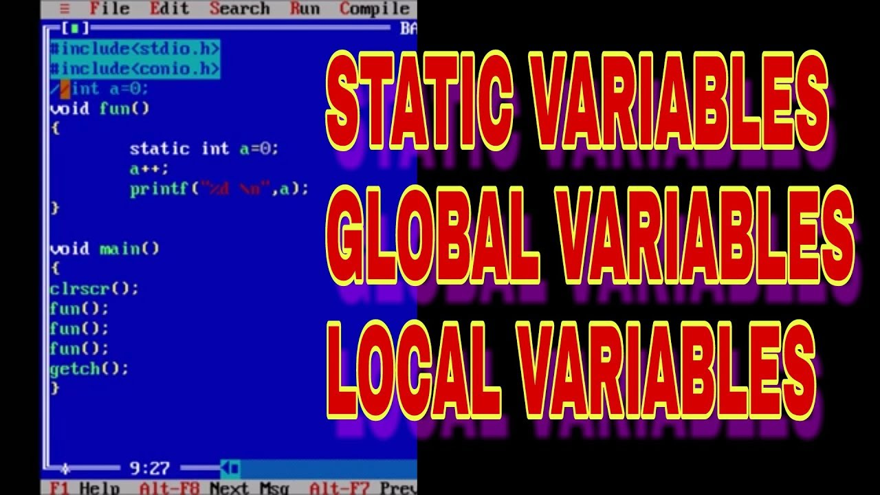 CREATE STATIC, GLOBAL AND LOCAL VARIABLE IN C [HINDI]