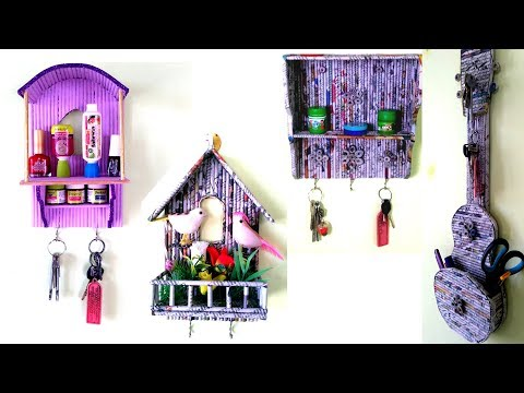 4 Awesome Key holder ideas Using Newspaper | Best out of waste | DIY