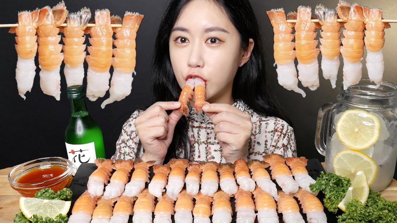 딱새우 먹방 [Raw Shrimp] 生エビ กุ้งสด Tôm tươi Real Sound MUKBANG   ASMR   EATING SOUND