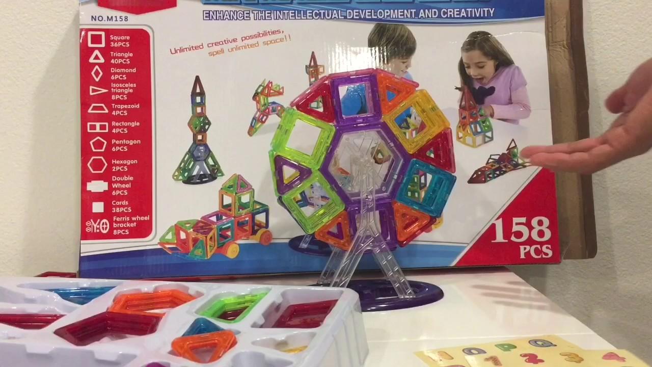 Multicolor BCP 158-Piece Kids Clear Magnetic Building Block Tiles Toy Set