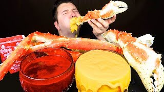 CHEESY KING CRAB LEGS WITH NUCLEAR FIRE NOODLE SAUCE • Mukbang & Recipe