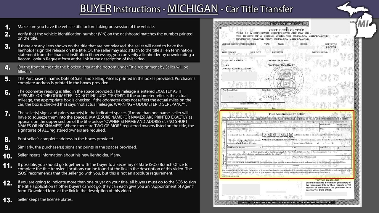 Michigan Title Transfer Buyer Instructions Youtube