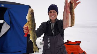 My First Ice Fishing Walleye Catch, Clean, and Cook W/ Gasoline Stove
