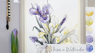 Watercolor Iris Flowers painting demonstration