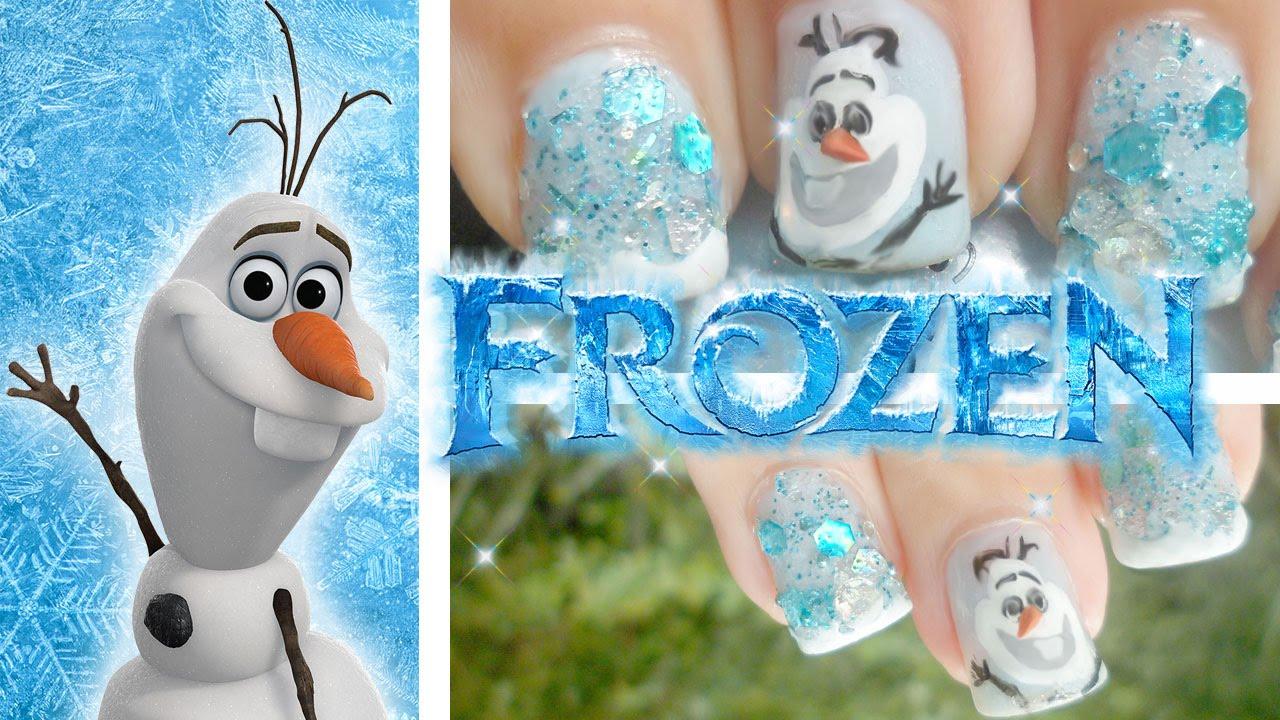 Olaf! Frozen Inspired Nail Art - YouTube
