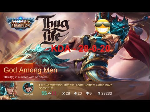 Yun Zhao God Among Men Thug Life KDA-28-0-20  - Mobile Legends! Watch it to belive it.