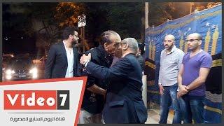 محمد السبكى فى عزاء والدة طليقته عفاف رشاد