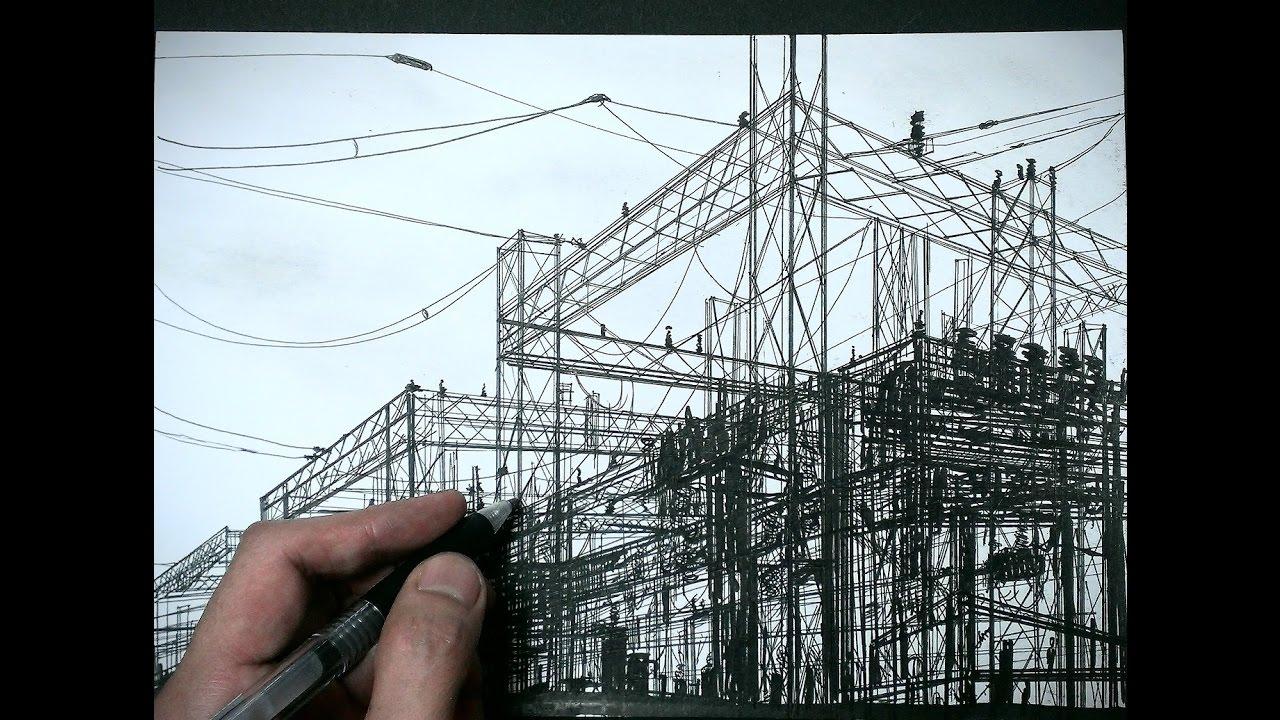 廃墟を描いてみた 線画 - youtube