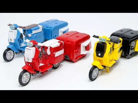 Transformers 5 TLK KO Yellow Red Blue Colors Sqweeks Cute Take Out Delivery Motorcycle Robot Toys