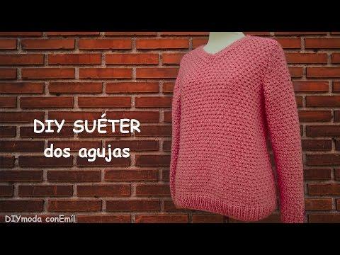 Suéter o jersey de mujer en dos agujas paso a paso