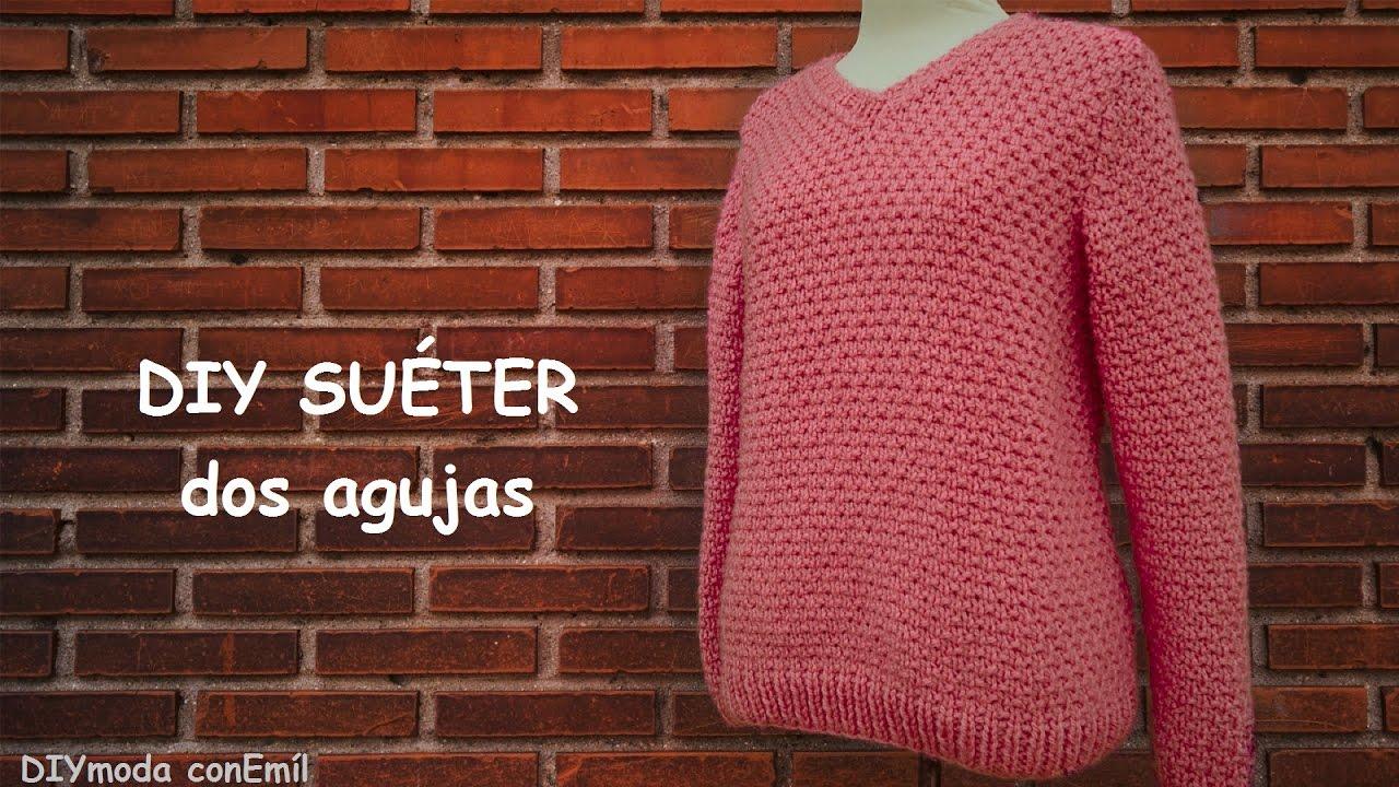Como tejer un sueter en dos agujas para mujer sweater - Como hacer un jersey de punto ...
