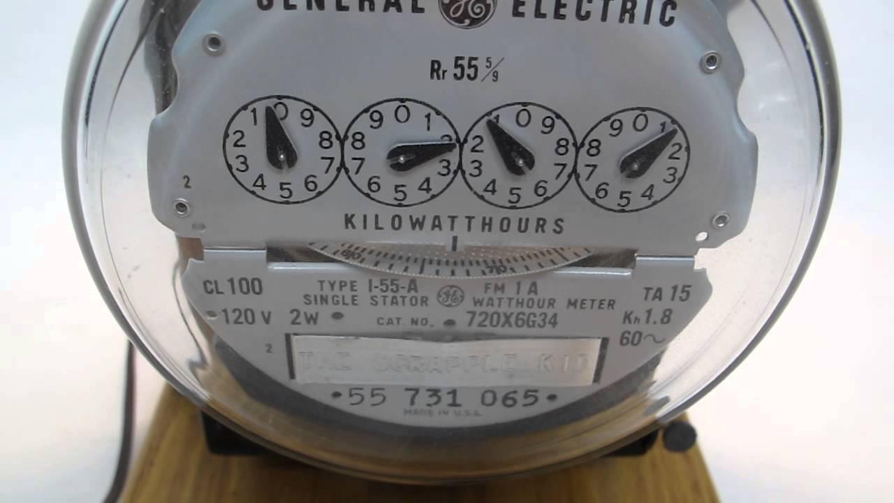 Vintage General Electric Meter Table Lamp Oak Base Working Heavy