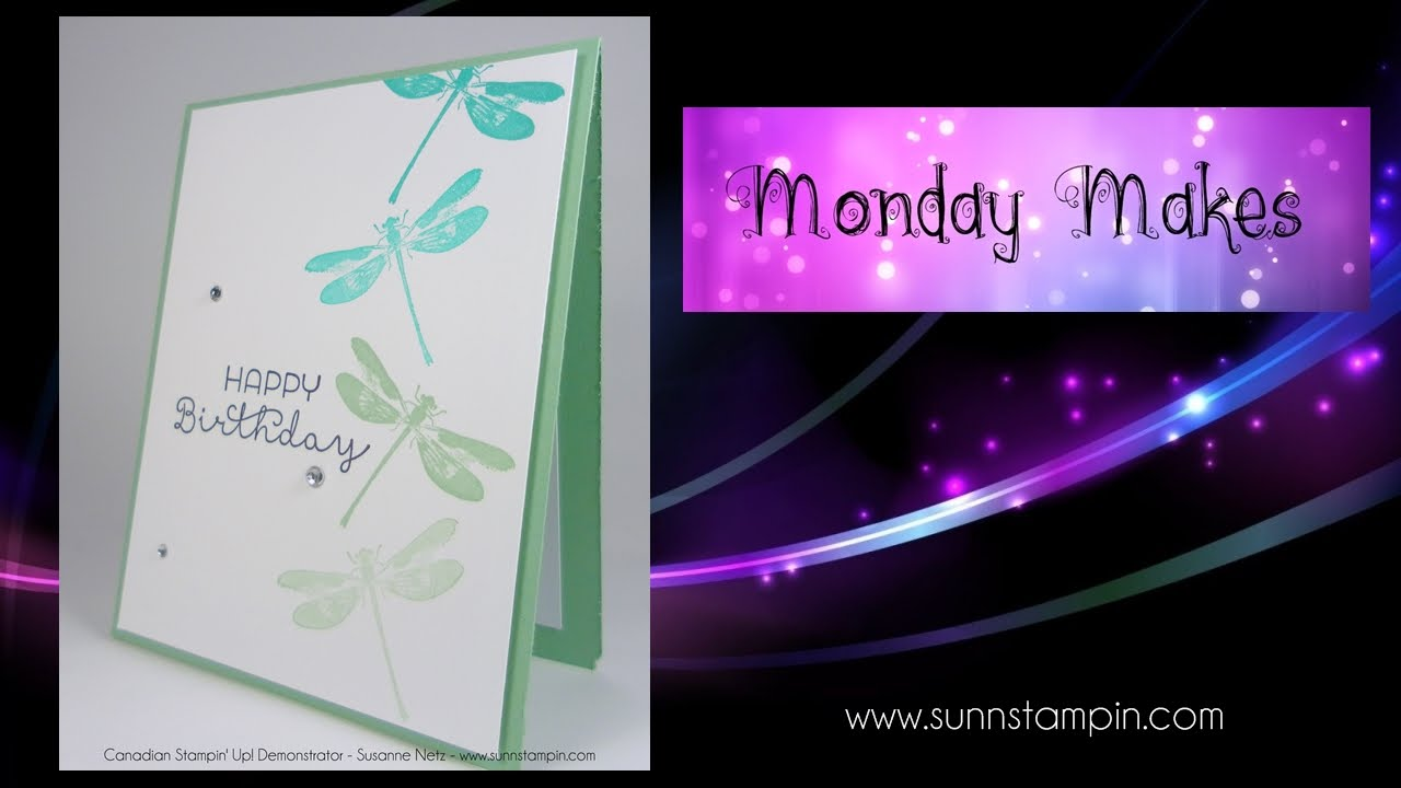 One Layer Dragonfly Card using Stampin\' Up! Products - YouTube