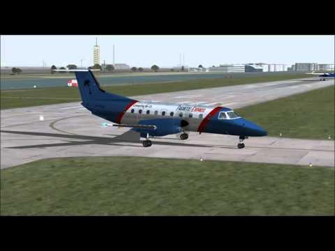 EMBRAER 120 BRASILIA PALMETTO EXPRESS LANDING AT LONDON CITY AIRPORT FS9 HD