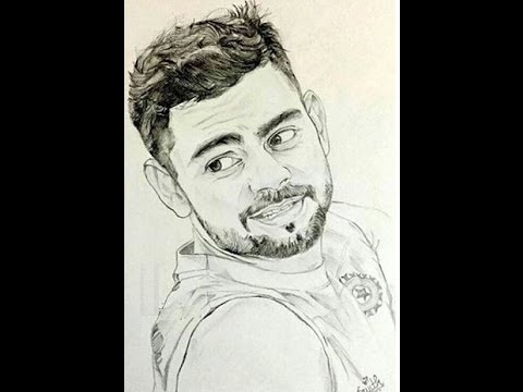 How to draw virat kohli face sketch pencil drawing step by step