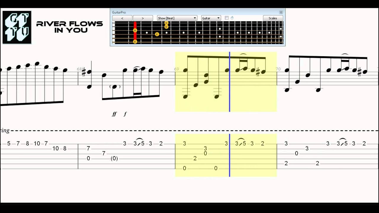 Learn How To Play River Flows In You Acoustic Guitar Pro 6