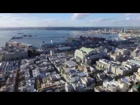 Video aéreo de la Ciudad Vieja de Montevideo, Uruguay Desde Lo Alto